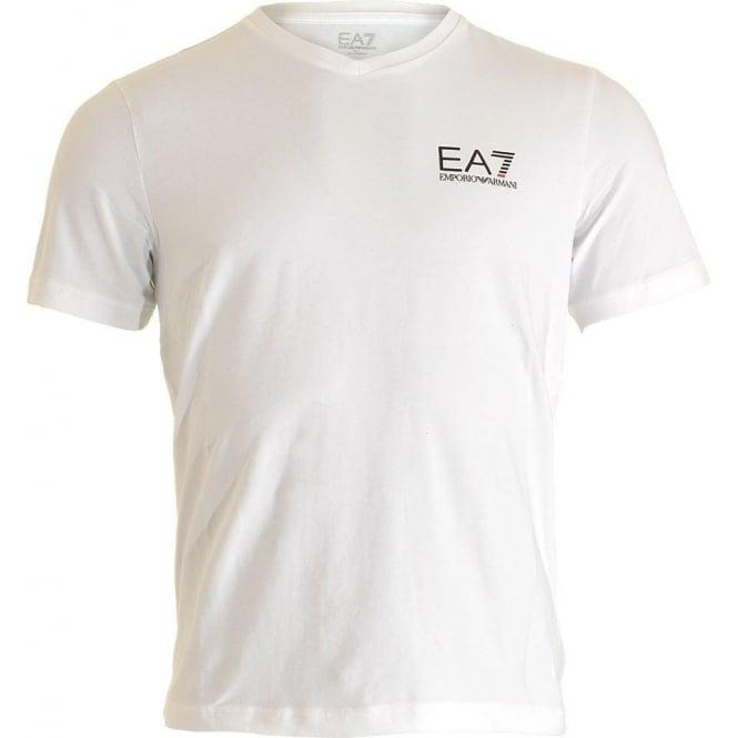 EA7 Emporio Armani Swimwear Train Core ID Logo V-Neck T-Shirt, White