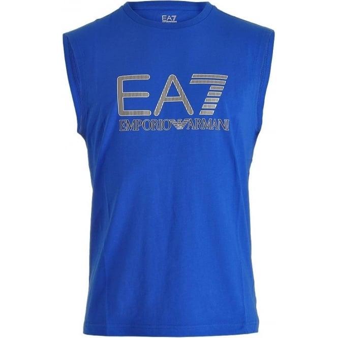 EA7 Emporio Armani Swimwear Train Visibility Logo Tank Top, Royal Blue