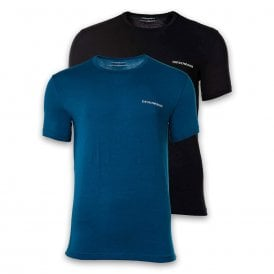 2-Pack Stretch Cotton Crew Neck T-shirt, Baltic / Black