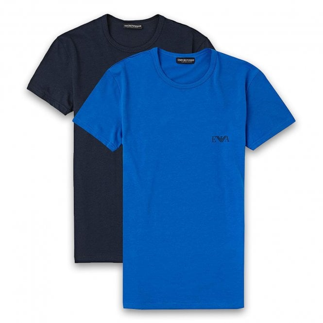 Emporio Armani 2-Pack Stretch Cotton Crew Neck T-shirt, Marine / Overseas Blue