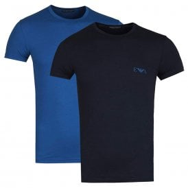 2-Pack Stretch Cotton Crew Neck T-shirt, Navy/Blue