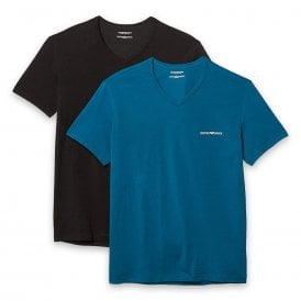 2-Pack Stretch Cotton V-Neck T-shirt, Baltic / Black