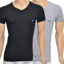 2-Pack Stretch Cotton V-Neck T-shirt, Black/Grey