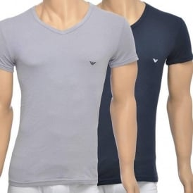 2-Pack Stretch Cotton V-Neck T-shirt, Grey/Navy