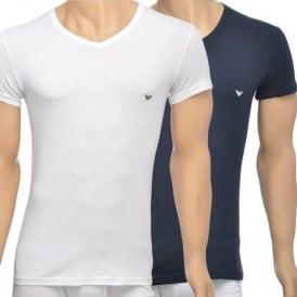 2-Pack Stretch Cotton V-Neck T-shirt, White/Navy