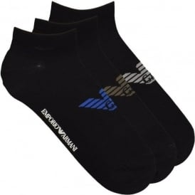 3 Pack Big Eagle Logo Trainer Socks, Black