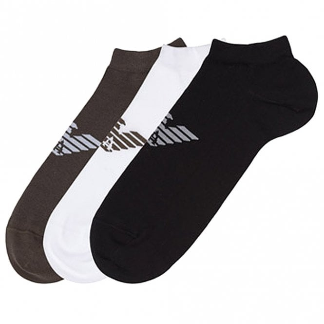 Emporio Armani 3 Pack Big Eagle Logo Trainer Socks, Black / White / Khaki Green