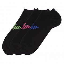 3 Pack Big Eagle Logo Trainer Socks, Black with Blue / Pink / Green Logo