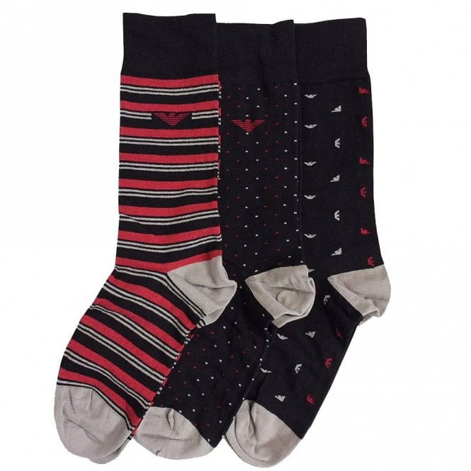 Emporio Armani Underwear 3 Pack Gift Box Eagle/Stripe Socks, Black / Red