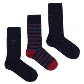3 Pack Gift Box Eagle/Stripe Socks, Navy