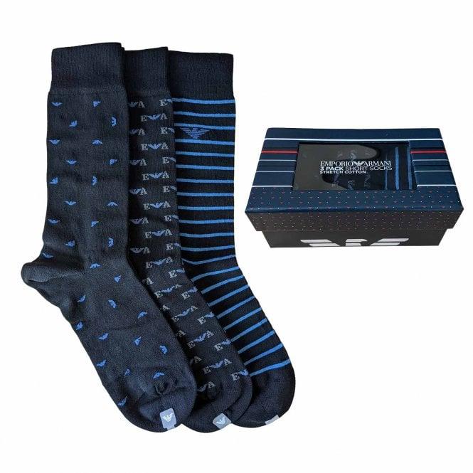 Emporio Armani Underwear 3 Pack Gift Box Socks, Black / Blue