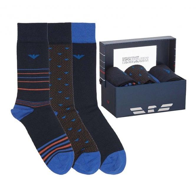 Emporio Armani Underwear 3 Pack Gift Box Socks, Blue Marine / Blue