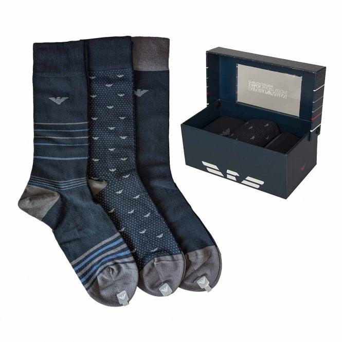 Emporio Armani Underwear 3 Pack Gift Box Socks, Marine / Grey