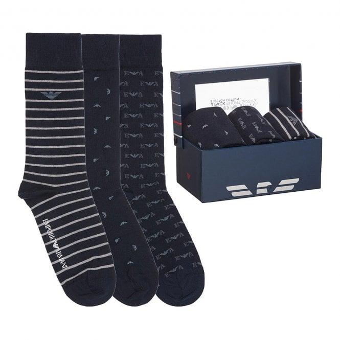 Emporio Armani Underwear 3 Pack Gift Box Socks, Marine / Pearl