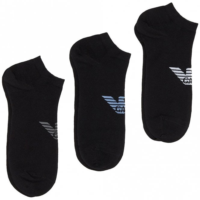 Emporio Armani 3 Pack Big Eagle Logo Trainer Socks, Black with Grey / Blue / White logo