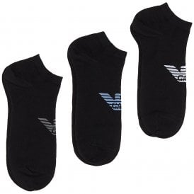 3 Pack Big Eagle Logo Trainer Socks, Black with Grey / Blue / White logo