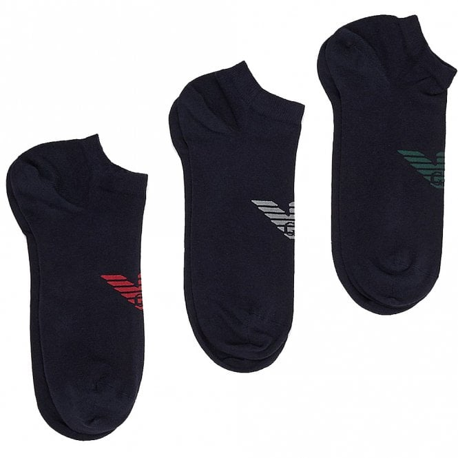 Emporio Armani 3 Pack Big Eagle Logo Trainer Socks, Navy with Grey / Green / Red logo