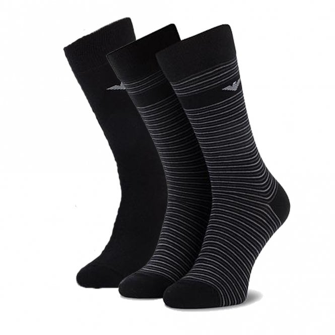 Emporio Armani 3 Pack Stretch Cotton Logo Socks, Black / Grey Stripe