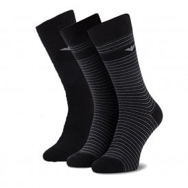 3 Pack Stretch Cotton Logo Socks, Black / Grey Stripe