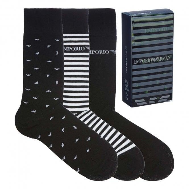 Emporio Armani Underwear 3 Pack Stretch Cotton Logo Socks, Black