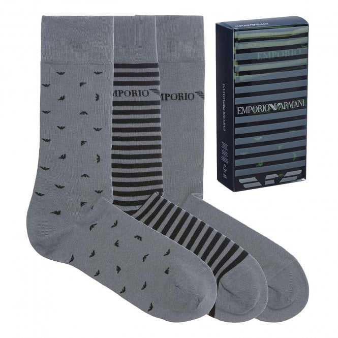 Emporio Armani Underwear 3 Pack Stretch Cotton Logo Socks, Grey