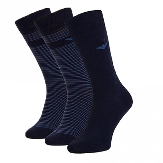 Emporio Armani 3 Pack Stretch Cotton Logo Socks, Navy / Blue Stripe