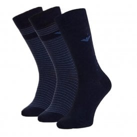3 Pack Stretch Cotton Logo Socks, Navy / Blue Stripe