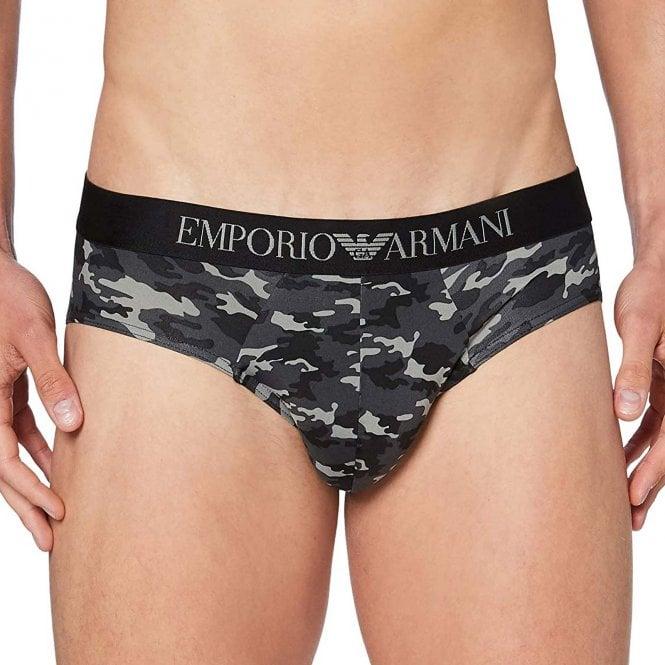 Emporio Armani Underwear All-Over Camou Microfiber Brief, Anthracite Camouflage