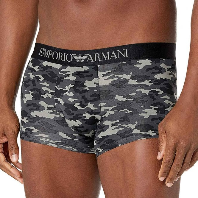 Emporio Armani Underwear All-Over Camou Microfiber Trunk, Anthracite Camouflage