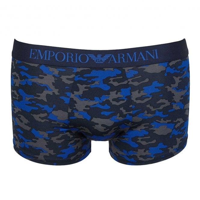Emporio Armani Underwear All-Over Camou Microfiber Trunk, Marine Camouflage