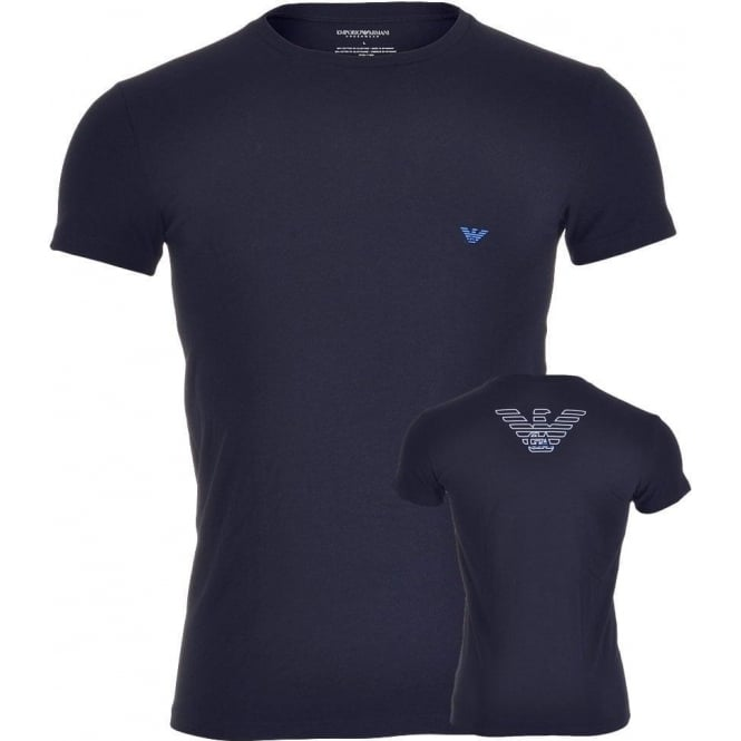 Emporio Armani Big Eagle Stretch Cotton Crew Neck T-Shirt, Marine