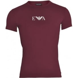 Bodywear Coloured Stretch Cotton Logo Crew Neck T-Shirt, Aubergine