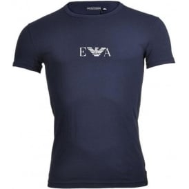 Bodywear Coloured Stretch Cotton Logo Crew Neck T-Shirt, Marine