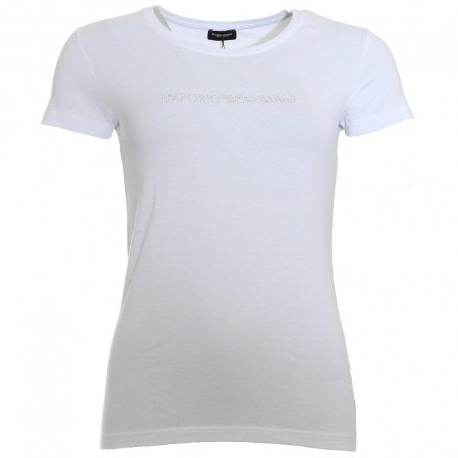 Emporio Armani Underwear Bodywear Diamante Logo Stretch Cotton Crew Neck T-Shirt, White