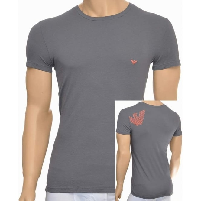 Emporio Armani Bodywear Eagle Stretch Cotton Crew Neck T-Shirt, Ash Grey