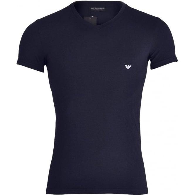 Emporio Armani Underwear Bodywear Fashion Stretch Cotton V-Neck T-Shirt, Marine