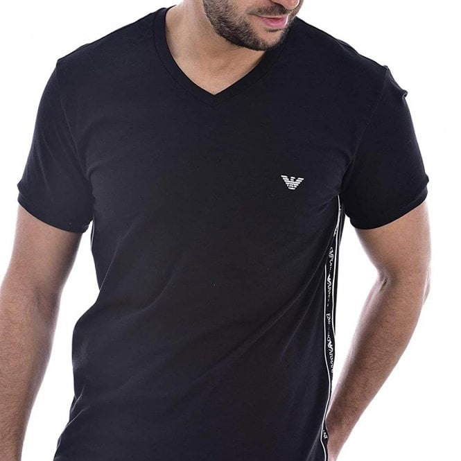 Emporio Armani Bodywear Logoband Stretch Cotton V-Neck T-Shirt, Black