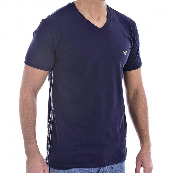 Emporio Armani Bodywear Logoband Stretch Cotton V-Neck T-Shirt, Marine