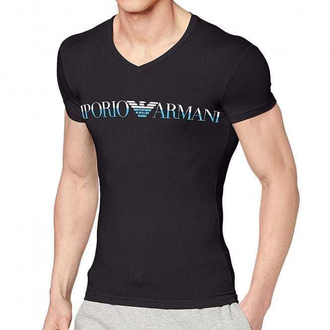 Emporio Armani Bodywear Mega Logo Stretch Cotton V-Neck T-Shirt, Black