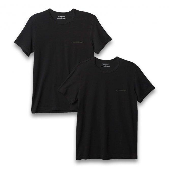 Emporio Armani Underwear Bodywear Stretch Cotton 2-Pack Crew Neck T-shirt, Black / Black