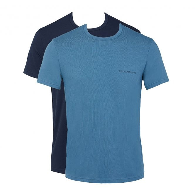 Emporio Armani Bodywear Stretch Cotton 2-Pack Crew Neck T-shirt, Marine / Hortensia
