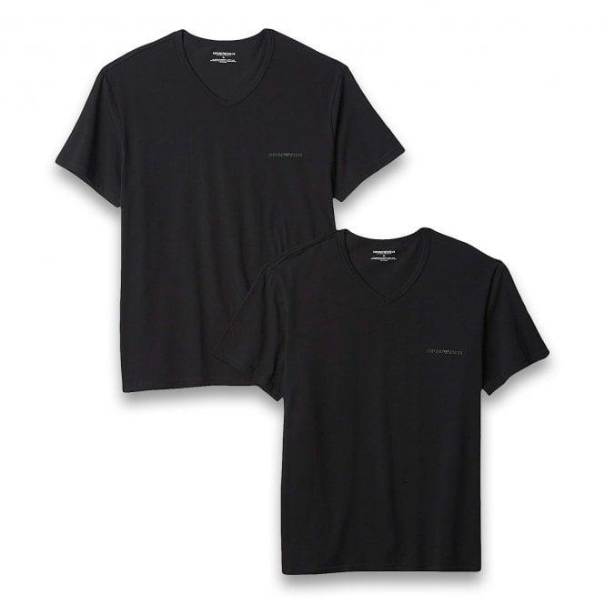 Emporio Armani Underwear Bodywear Stretch Cotton 2-Pack V-Neck T-shirt, Black / Black