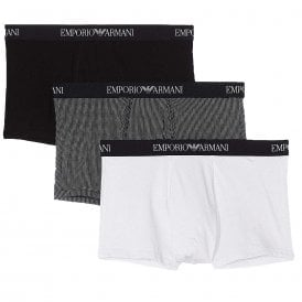 Coloured Pure Cotton 3-Pack Trunk, Black / Print / White