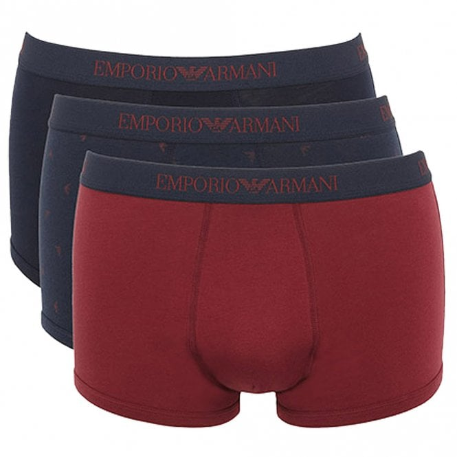Emporio Armani Coloured Pure Cotton Logo 3-Pack Trunk, Navy/Print/Burgundy