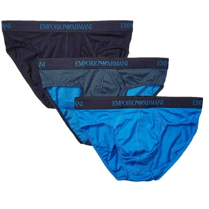 Emporio Armani Coloured Pure Cotton Logo 3-Pack Brief, Wave Blue / Print / Marine