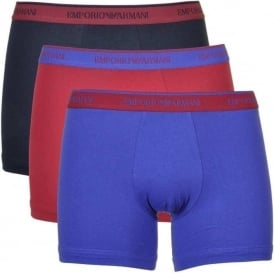 Coloured Stretch Cotton 3-Pack Boxer Brief, Marine/Red Currant/Ink