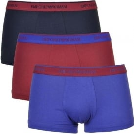 Coloured Stretch Cotton 3-Pack Trunk, Marine/Red Currant/Ink