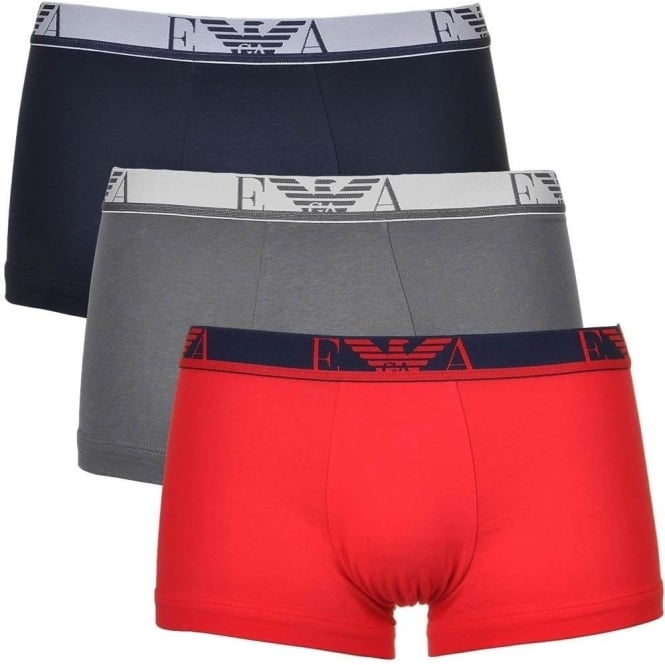 Emporio Armani Coloured Stretch Cotton Logo 3-Pack Trunk, Red/Marine/Grey