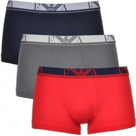 Coloured Stretch Cotton Logo 3-Pack Trunk, Red/Marine/Grey