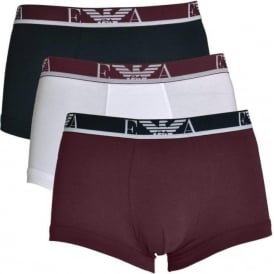 Coloured Stretch Cotton Logo 3-Pack Trunk, White / Aubergine / Marine
